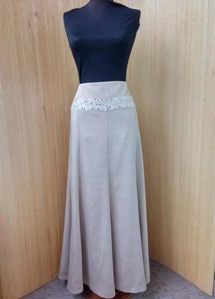 Пудровая длинна нарядная юбка с пайетками alvina l/xl