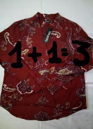 1+1=3 яркая блуза на запах boohoo
