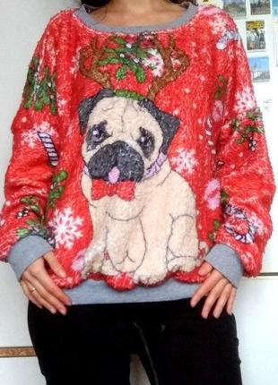 Пушистый новогодний, рождественский свитшот, кофта, кофточка, свитер, меховушка с собачкой