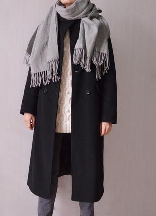 Черное двубортное шерстяное кашемировое длинное пальто пальто миди из шерсти и кашемира
