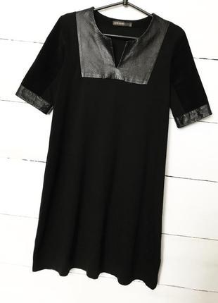 Красивое платье/футляр/миди,чёрного цвета с вставками кожы/замша!