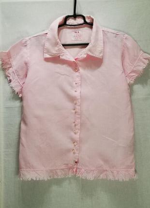Льняная розовая блузка-рубашка