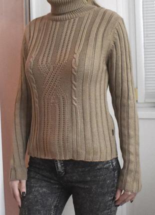 S/m – вязаный шерстяной свитер водолазка из мериноса – новый