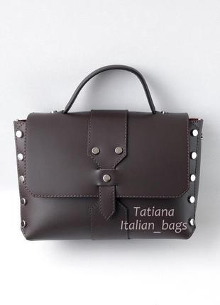 Модная кожаная сумка портфель с заклепками, шоколадная. италия