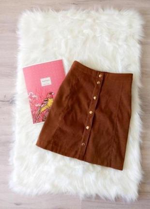 Замшевая коричневая юбка трапеция на пуговицах