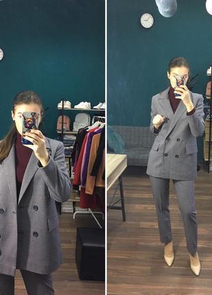 Стильный теплый деловой брючный костюм темно-синий гусиная лапка s 44
