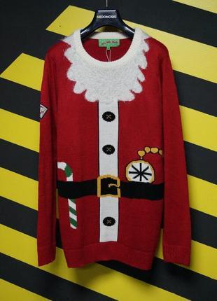 Новогодний рождественский праздничный свитер костюм санты дед мороз
