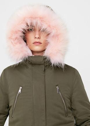 Mango парка куртка с розовым мехом размер м 38