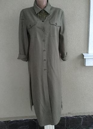 Платье-рубашка-халат,разрезы по боку,хаки,кэжуал,maria bellesi