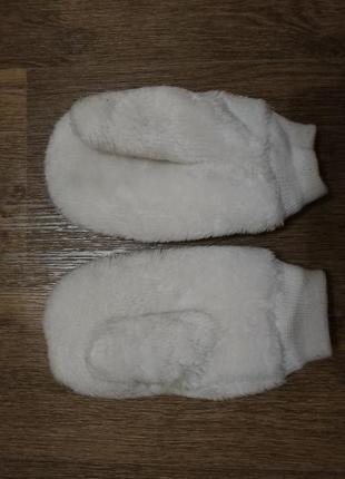 Тёплые варежки перчатки пушистые