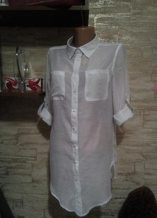 Белая базовая блуза-туника