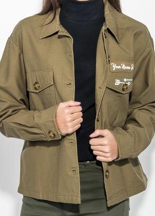 Джинсовая куртка рубашка с надписью рисунком миллитари хаки оверсайз m-l