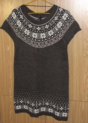 Красивенное теплое платье/туника с орнаментом 40-42 р., цвет - графитовый