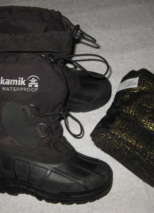 21см стелька, канадские термо сноубутсы с валенком kamik, зимние сапоги