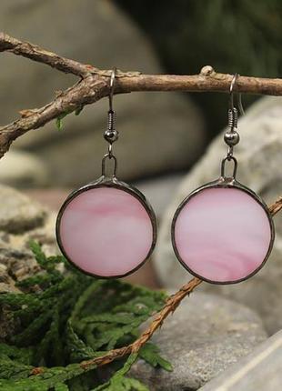 Серьги тиффани нежно-розовые
