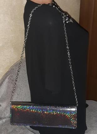Маленькая сумка, клатч, блестящая,ручка-цепочка