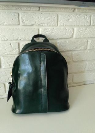 Красивый кожаный рюкзак, темно-зеленый