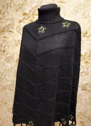 Стильное классное пончо с вышивкой, размер 44-46