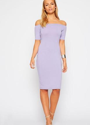 Красивое миди платье с открытыми плечиками pretty little thing цвета пудры