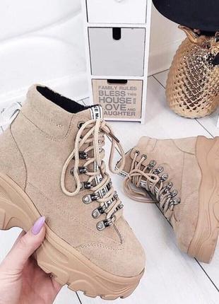 Женские ботинки на флисе из эко-замши размеры 36-41!
