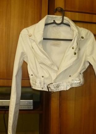 Белая(белоснежная)джинсовая куртка-болеро dolce ribelle,ветровка,весна-лето-осень,короткая