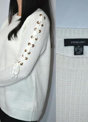 Белый свитер со шнуровкой,кофта