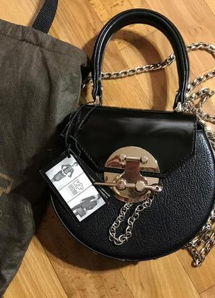 42138ae24f29 Новая черная кожаная сумка (круглая) мини. vif. 100% натуральная кожа