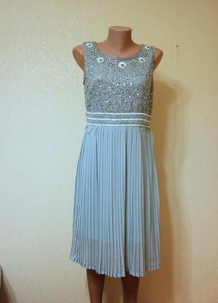 Платье с пойетками и юбкой плиссе шифоновое