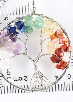 Супер стильный кулон дерево жизни с натуральными камнями