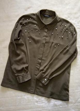 Свободная блузка оверсайз с жемчугом и бусинками размер 8-10 zara