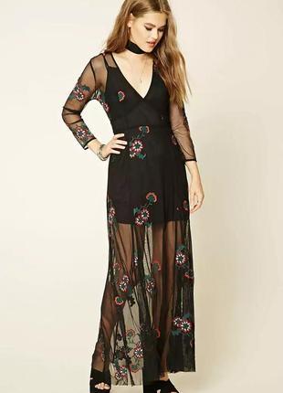 Невероятное длинное платье сетка с вышивкой на новый год или вечеринку
