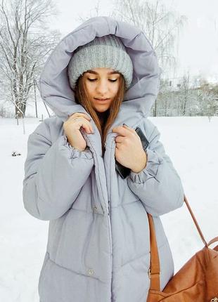 Зимняя куртка для беременных светло-серого цвета, чёрного,мятного ,розового цвета