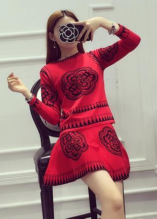 Костюм женский трикотажный вязаный с юбкой трапеция   костюм жіночий  трикотажний cc56e689de980