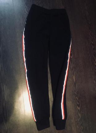 Теплые спортивные штаны с лампасами1 фото