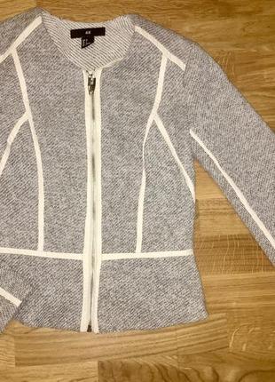 Пиджак h&m жакет кардиган накидка куртка укороченный с кожаными вставками