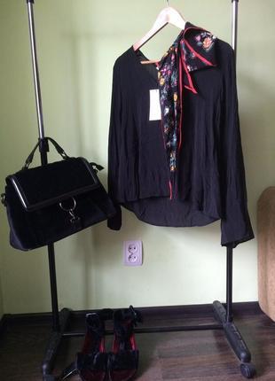 Шикарная шифоновая блуза с платком zara