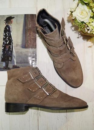 (40/26см) topshop. замша. стильные ботинки с ремешками