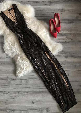 Шикарное нарядное платье в пайетку