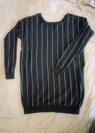 Утепленная свитер туника платье atmosphere, в полоску, красивое декольте, р. 44, м