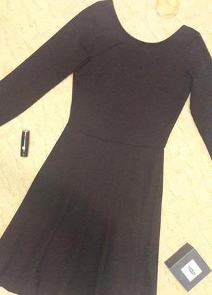 Платье черное трикотажное базовое xs