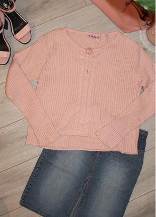 Мягенький свитер цвета пудра x-mail