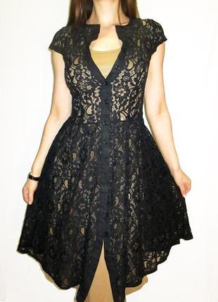 Lapis! женственное гипюровое платье с кофейной подкладкой