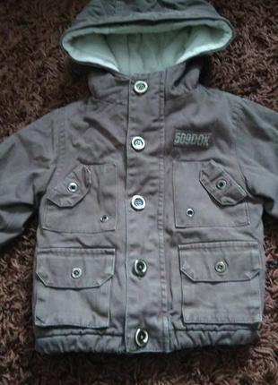 Деми куртка, парка  для мальчика 6-9 месяцев. будет дольше. холодная осень, теплая зима.