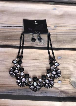 Нарядный набор колье и серьги, ожерелье, подвеска