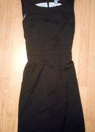 Черное деловое платье миди на подкладке офисное на работу