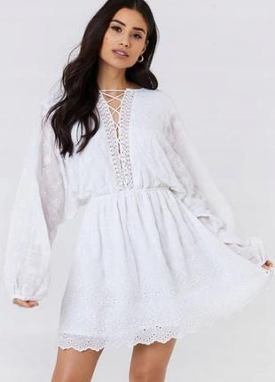 Na-kd розкішна біла ажурна сукня