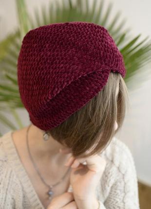 Вишнево-бордова велюрова шапка чалма ( велюровая чалма )