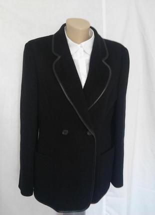 Роскошный пиджак,черный,шерсть/шелк,кожа,карманы
