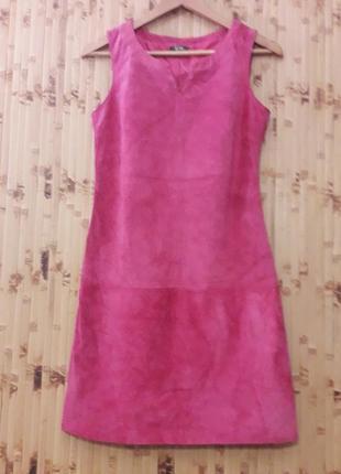 Кожаный замшевый сарафан, платье франция р.s