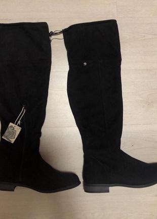 Чёрные осенние ботфорты сапоги замшевые замша
